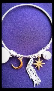 Sun Moon Stars Siilver and Gold Bracelet NWOT